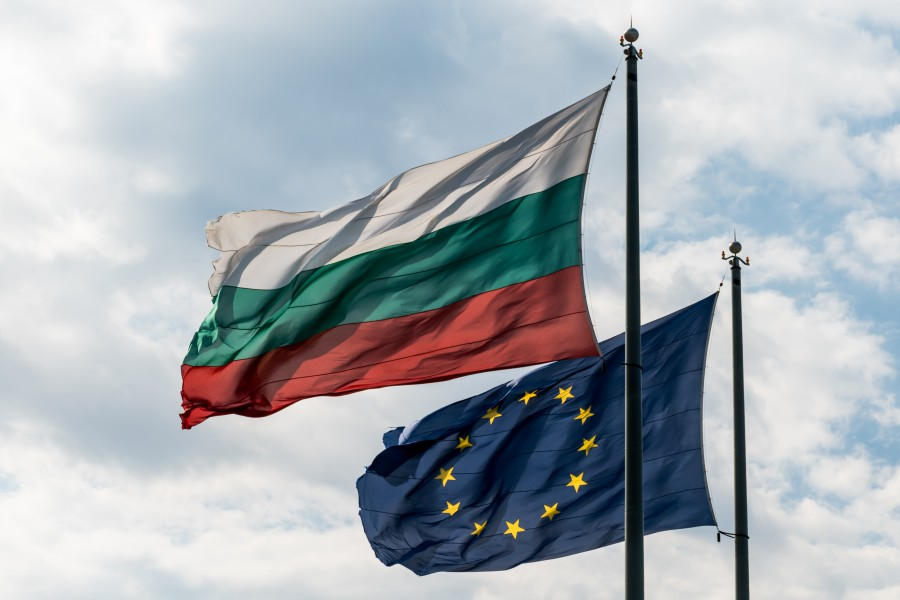 Bulgarian and EU flags flying high in Varna, Bulgaria